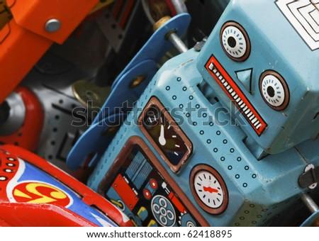 old robot toys - stock photo
