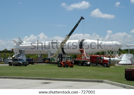 Old rocket at Kennedy space Center, Cape Canaveral, Florida - stock photo