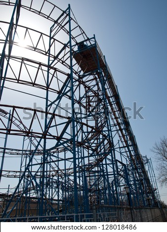 old rollercoaster in winter