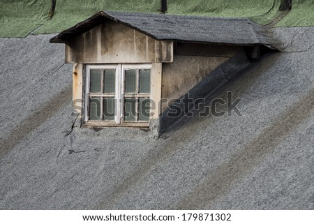 old  rome house dormer skylight - stock photo
