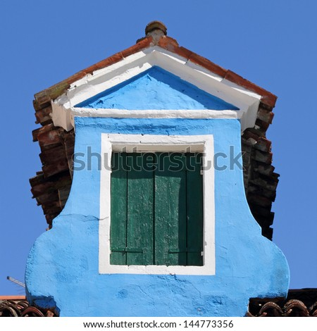 old roof window in Burano, Venice, Italy, Europe - stock photo
