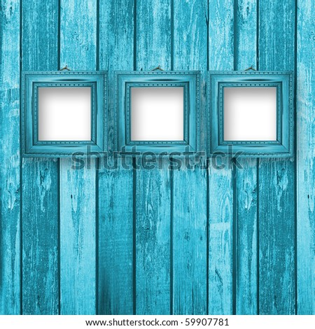 Old room, grunge industrial interior, worn  surface, wooden frames - stock photo