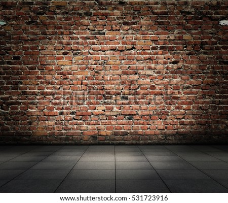 old room with brick wall, grungy background