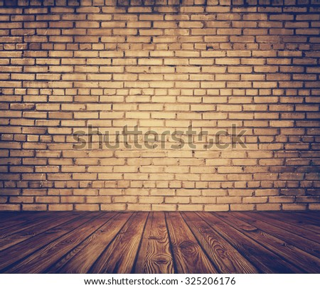 old room with brick wall, vintage background, retro film filtered, instagram style - stock photo