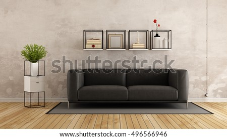 Old room with modern sofa and shelves - 3d rendering