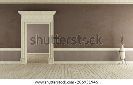 Old room with stone portal and brown wall - rendering - stock photo