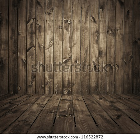 old room, wooden wall - stock photo