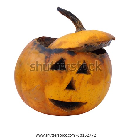 Old  rotten helloween pumpkin - stock photo