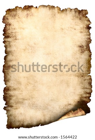 Old rough antique vertical parchment paper texture background isolated on white - stock photo