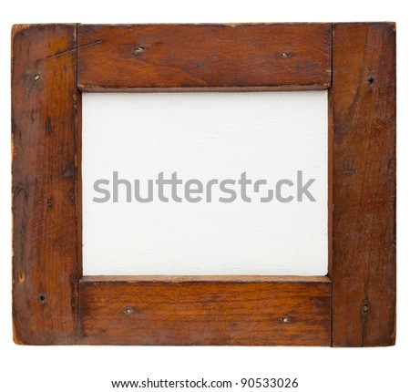old rough wooden frame with blank artist canvas isolated on white - stock photo