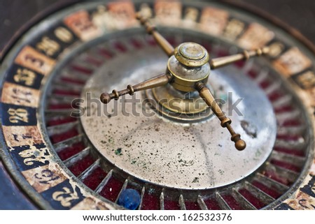 Old roulette wheel - stock photo
