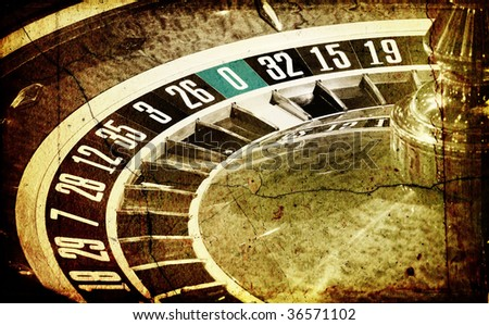Old Roulette wheel (casino series) - stock photo