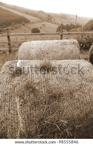 old round bales in lush irish countryside landscape at glenough county tipperary ireland in sepia - stock photo