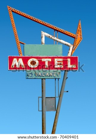 Old Route 66 neon sign - stock photo
