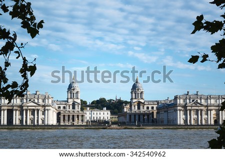 Old Royal Naval College. View from another bank of the river Thames