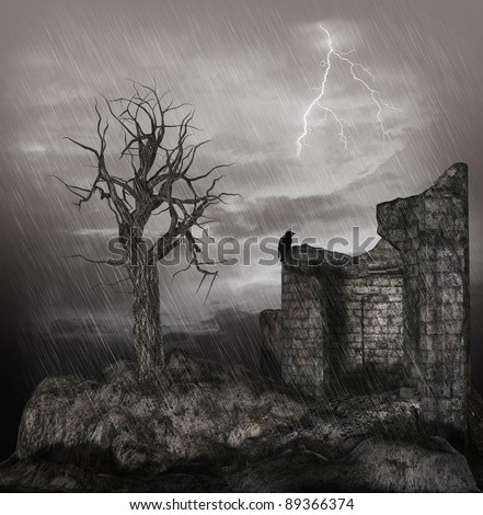 Old ruin in a thunderstorm - stock photo