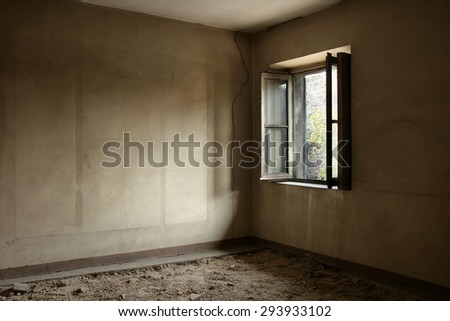 Old ruined and abandoned interiors - stock photo