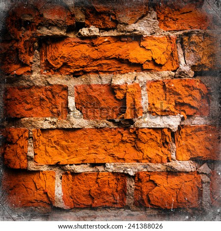 old ruined brick wall - stock photo