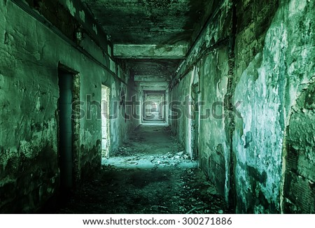 Old ruined factory building from the inside - stock photo