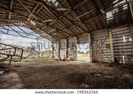 old ruined farm house building, roof