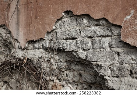 Old  ruined wall - stock photo