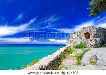 Old ruins at Cefalu, Sicily, Italy - stock photo