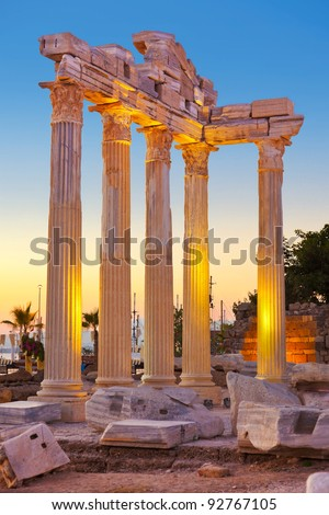 Old ruins in Side, Turkey at sunset - archeology background - stock photo