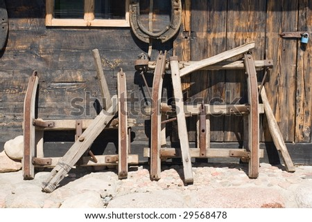 old runner of sledge and horse-collar - stock photo