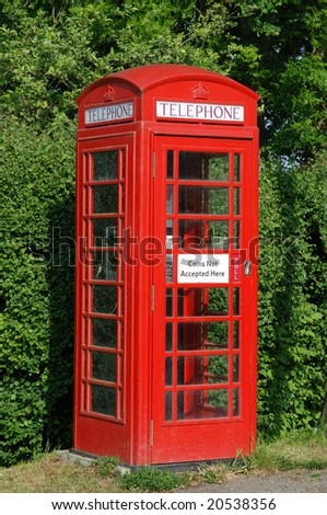 Old rural British telecoms red phone box