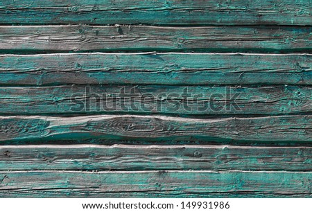 Old rural green wooden wall background texture - stock photo