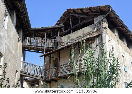 Old rural house at the village of Carona on the italian part of Switzerland