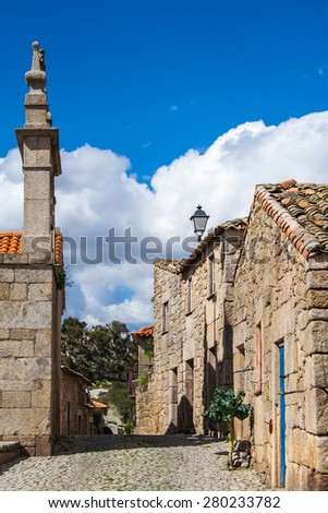 Old rural village in Portugal, Europe with stone houses and building and narrow streets - stock photo