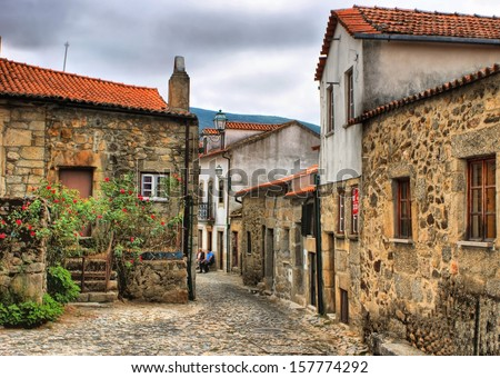 Old rural village of Linhares da Beira, Portugal - stock photo