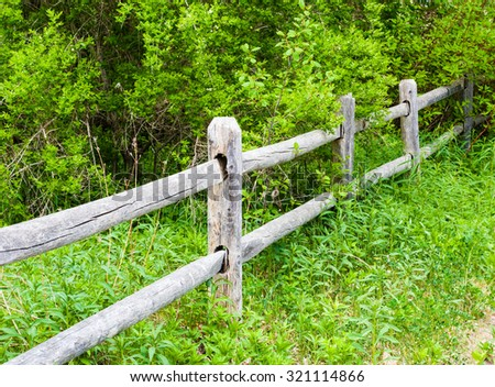 Old rural weathered and cracked gray wood fence and posts going into lush green overgrown bushes. - stock photo
