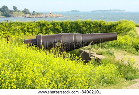 Old Russian Cannon in Suomenlinna Sveaborg Helsinki Finland with yellow flowers in the foreground - stock photo