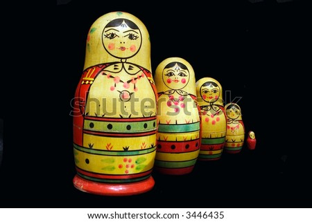 Old russian famous collapsible dolls