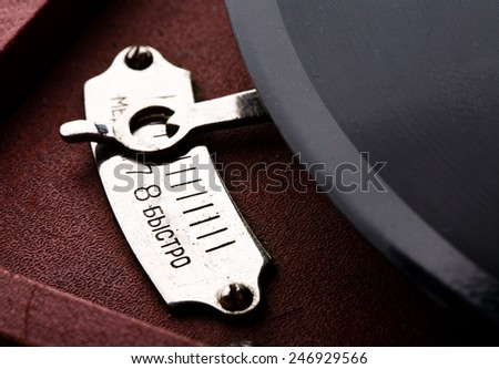 old Russian gramophone temp speed changer switch - stock photo