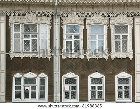 old russian rural house facade - stock photo