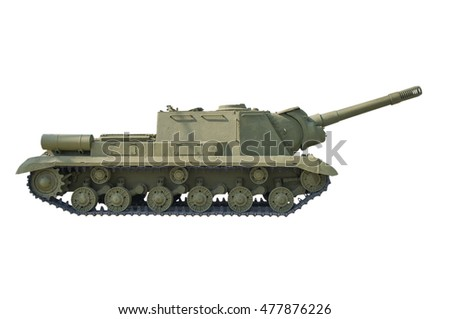 Old Russian self-propelled gun isolated on white.