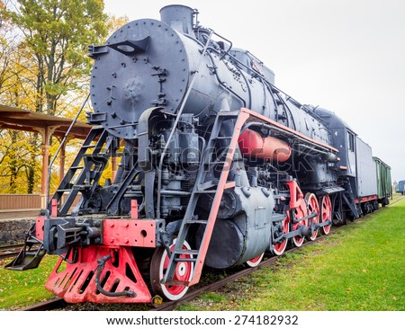 Old Russian Steam Train - stock photo