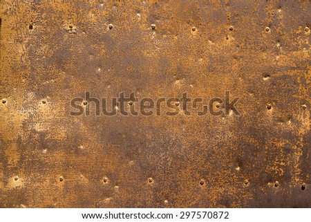old rust door bind with iron nailed metal - stock photo