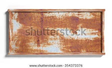 Old rustic metal sign post,isolated on white background. - stock photo