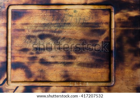 Old rustic wooden cutting Board, background horiontal