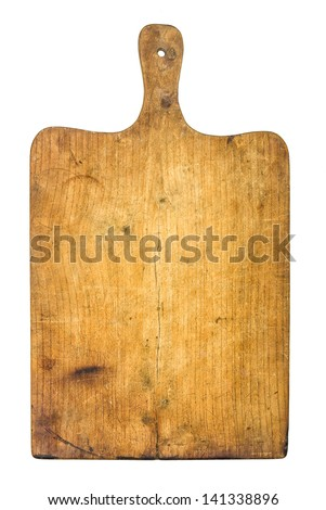 Old rustic wooden kitchen board - stock photo