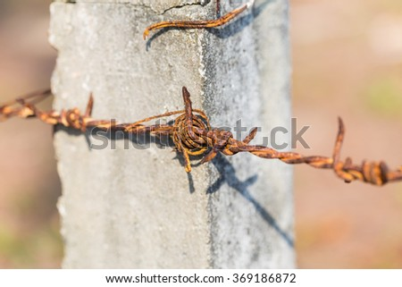 Old rusty barbed wire on the cement pole - stock photo