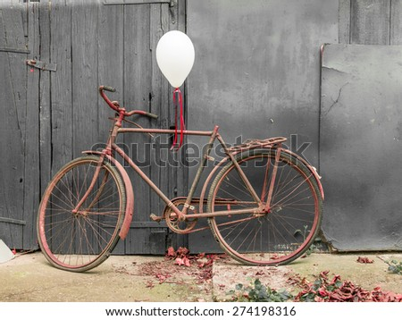 Old rusty bicycle decorated, intimate pictures for greetings card - stock photo