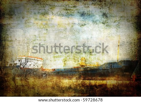Old rusty cargo ship, abstract grunge background, dark scratched surface - stock photo