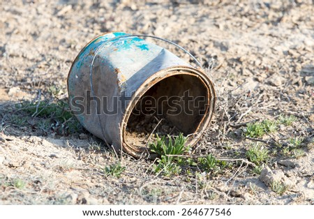 old rusty containers in nature - stock photo