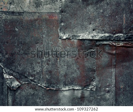 Old rusty dark metal background - stock photo