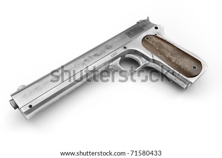Old rusty, dirty Colt pistol, isolated on a white background - stock photo